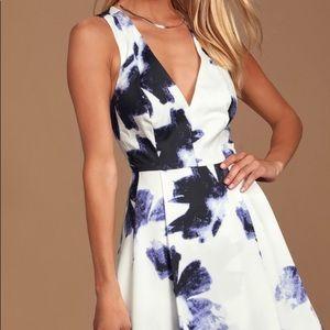 Lulus Blue & Ivory Fit & Flare Skater Dress